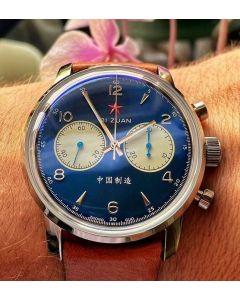 New! Seagull 1963 42mm BLUE PANDA Airforce Chronograph 42mm Sapphire