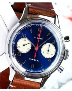 38mm 1963 Red Star Chronograph  Acrylglas Blau