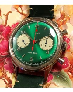 38mm 1963 Red Star Chronograph Acryl Green