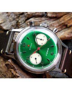 Seagull 38mm 1963 Red Star Chronograph Acryl Green