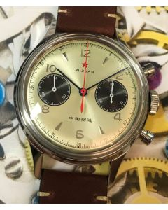 38mm 1963 Red Star Chronograph Acrylglas