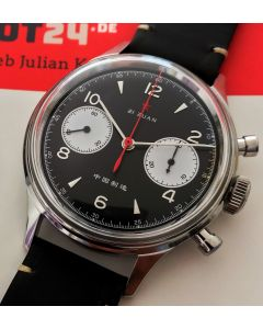38mm 1963 Red Star Chronograph Acrylglas Schwarz