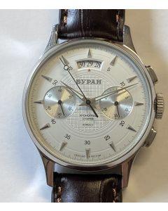 Buran Strela Chronograph, topp condition, rare with decorated caliber 3133!