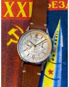 Strela Chronograph Officer 40mm Saphir & Glasboden